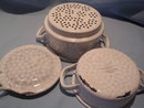 GERMAN GRANITE WARE CHICKEN WIRE ENAMEL  3 PIECE DOUBLE BOILER STEAMER WITH LID