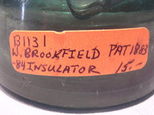 W. BROOKFIELD PAT 1883 - 84 INSULATOR