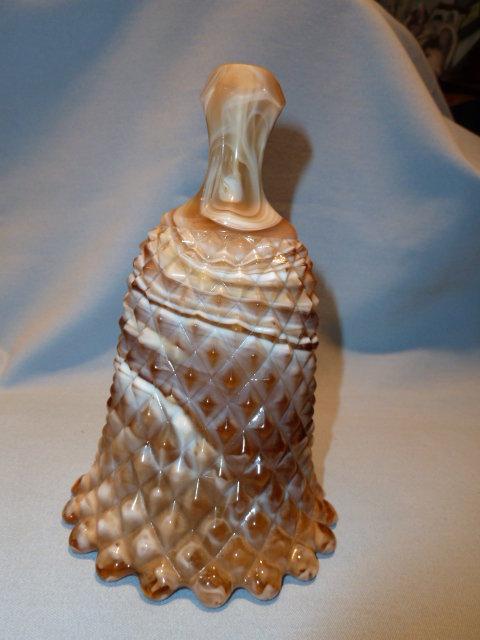 IMPERIAL CARAMEL SLAG GLASS BELL DIAMOND POINT DESIGN