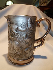 JIM BEAM 1OTH ANNUAL CONVENTION FAUX PEWTER WOODLAND CREATURES TALL PITCHER.
