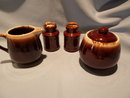 MCCOY BROWN DRIP SET CREAM, SUGAR SALT& PEPPER