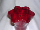 RED RUFFLED TOP HANDBLOWN ART GLASS VASE