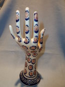 POLISH POTTERY GOLD AND NAVY PATTERN  JEWELRY HAND
