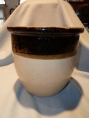 OLD BROWN AND TAN OPEN TOP  GLAZED CROCK POT