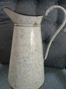 OLD GERMAN SNOW ON MOUNTAIN GRANITEWARE GRANITE ENAMEL LARGE BODY PITCHER