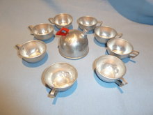 VINTAGE CHILD'S ALUMINUM 9 PIECE TEA SET WITH TEAPOT