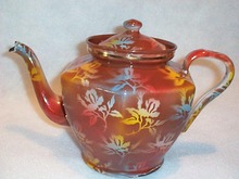 ELITE CZECH  GRANITEWARE GRANITE  FLORAL TEAPOT