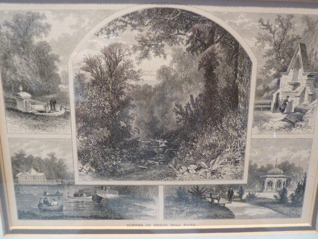 1872  SCENES IN DRUID HILL PARK , BALTIMORE MD, FRAMED WOOD ENGRAVING PRINT