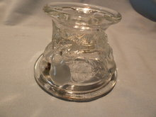 TELEFLORA REPRO  DEPRESSION GLASS BALTIMORE PEAR CRYSTAL CANDLESTICK CANDLE HOLDER