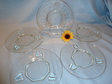 FIVE (5) JEANNETTE CHINA CRYSTAL BALTIMORE PEAR LUNCHEON LUNCH PLATES