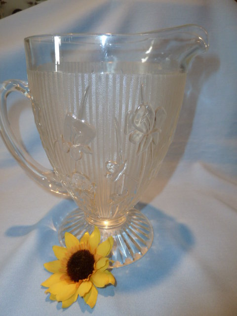 CLEAR JEANNETTE IRIS & HERRINGBONE LARGE FOOTED PITCHER CRYSTAL