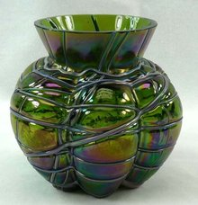 Loetz Art Glass Iridescent Aurene Bulbous Vase