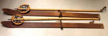 Antique Wood Child Youth Skis w/ Leather Straps & Bamboo & Leather Ski Poles