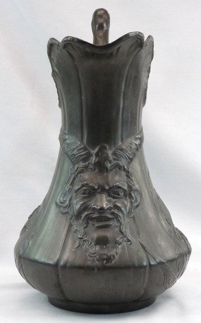 Nouveau Kayserzinn Pewter Satyr Pitcher Germany c 1896
