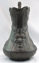 Nouveau Kayserzinn Pewter Satyr Pitcher Germany c 1896