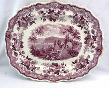 Antique Staffordshire Jacksons VIEW OF NEWBURGH NY Purple 18