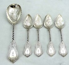 1859 GALE & WILLIS Sterling Silver 5 Pc. Dessert Set