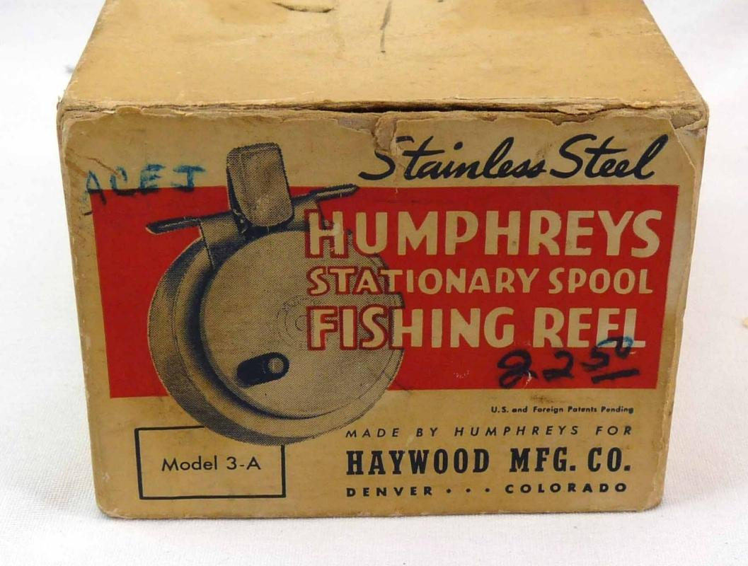 STAINLESS STEEL HUMPHREYS Model 3A Fishing Reel Made Denver w/ Orig Box & Inst.