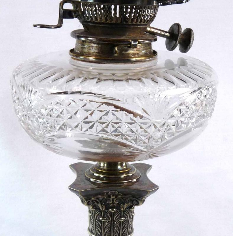 Antique HAWKSWORTH EYRE Silver & Cut Glass Corinthian Column Oil Lamp Hink's