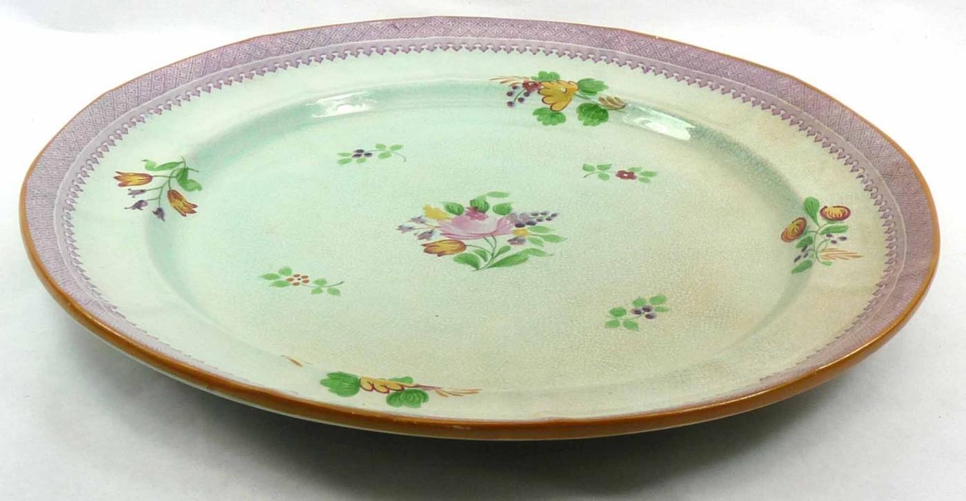 Vintage ADAMS Lowestoft Handpainted CALYX Ware Chop Plate Round Platter 12 1/2
