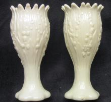 Old Pair of White Milk Glass Lily of the Valley Vases