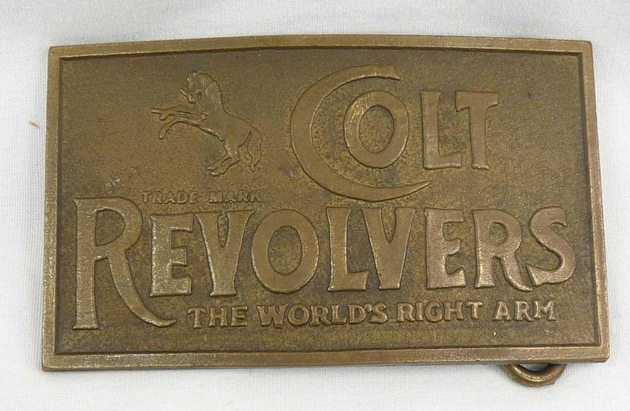 Solid Brass COLT REVOLVERS World's Right Arm Belt Buckle