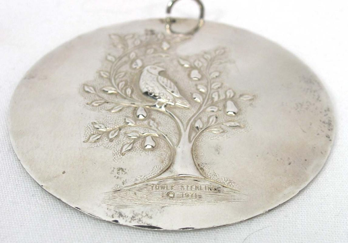 1971 TOWLE Sterling Partridge Pear Tree Ornament Pendant FIRST