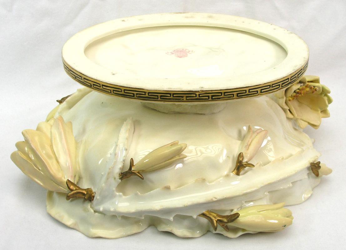 RARE Antique MOORE BROS 1890 Porcelain Pedestal Bowl