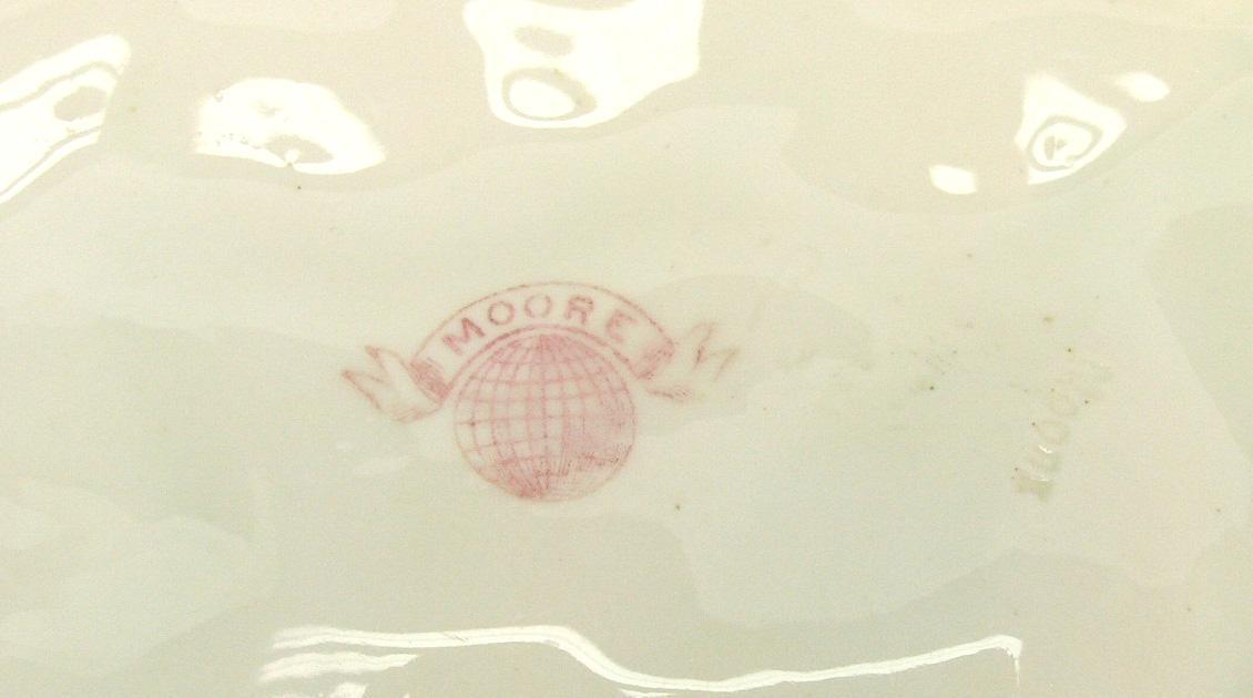 RARE Antique MOORE BROS 1890 Porcelain Pedestal Bowl