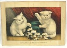 CURRIER & IVES Print MY LITTLE WHITE KITTIES DOMINOES
