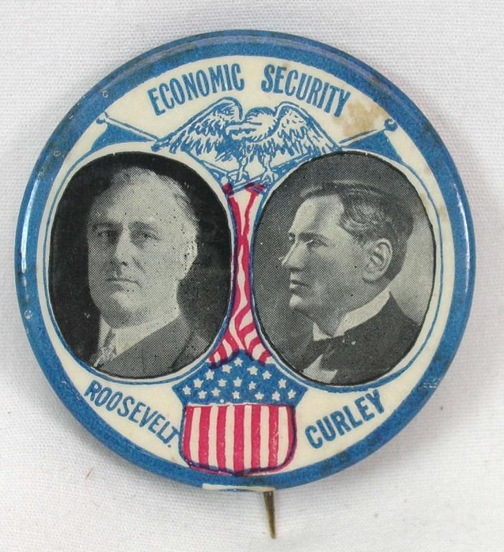 ROOSEVELT & CURLEY Political Pinback ECONOMIC SECURITY