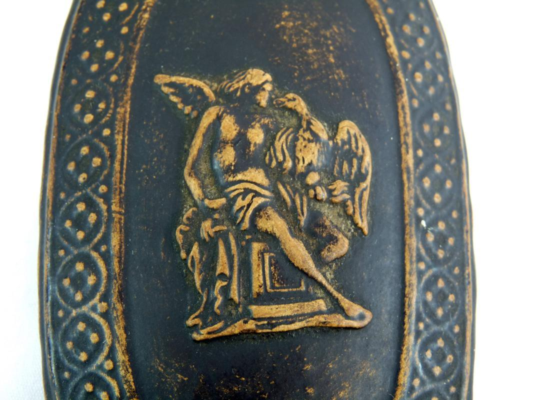 Antique Signed Gerbing & Stephan Bohemian Pottery Neoclassical Covered Match Box