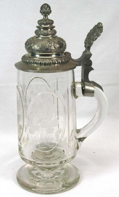Antique Cut Glass & Etched Beer Stein w/ Pewter Lid