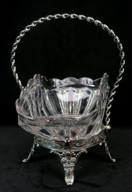 Antique JAMES TUFTS Silverplate Brides Cake Basket