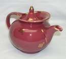 HALL Windshield 6 Cup Teapot Maroon Rose w/ Gold Roses