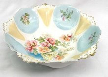 "Gorgeous 10 1/2"" R S Prussia Bowl Pink Peach Roses"