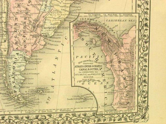 1880 Mitchell's Atlas Map SOUTH AMERICA VENEZUELA PERU