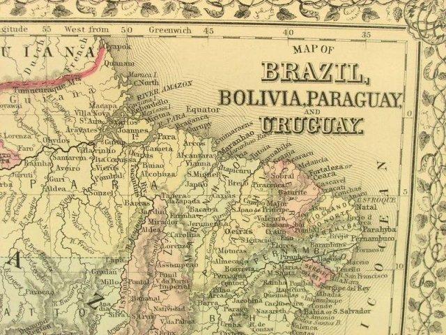 1880 Mitchell's Atlas Map CHILI BRAZIL BOLIVA EUROPE