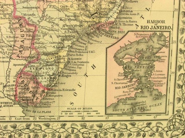 1880 Mitchell's Atlas Map CHILI BRAZIL BOLIVA EUROPE