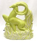 Vintage Chartreuse Ram or Gazelle TV Lamp