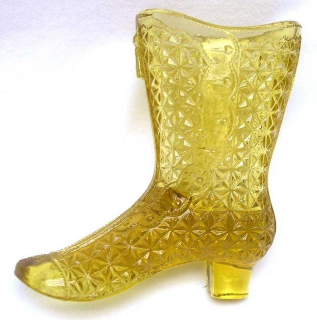 Mosser Glass Co. Amber Fine Cut Glass Boot