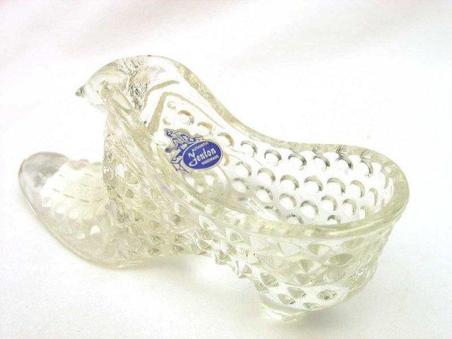 Fenton Crystal Glass Cat Slipper Glass Shoe