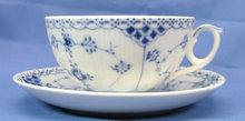 Royal Copenhagen BLUE FLUTED HALF LACE Cup & Saucer 656