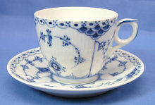 Royal Copenhagen BLUE FLUTED HALF LACE Cup & Saucer 756