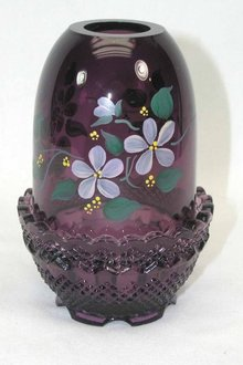 Artist Signed FENTON HP Fairy  Light Amethyst Violets