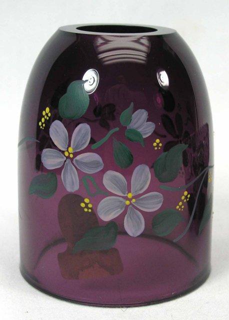Artist Signed FENTON HP Fairy  Light Amethyst Violets