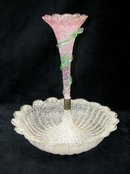 Antique Overshot Venetian Frosted Glass Epergne