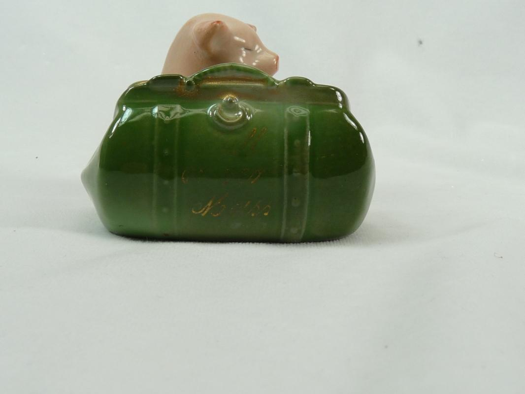 Old German PINK PIG Suitcase FALL RIVER MASS Souvenir