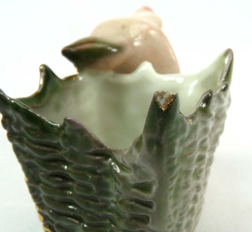 Old German Porcelain PINK PIG in Green Basket Toothpick