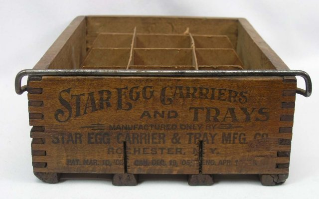 Early STAR EGG Carrier Wood Dovetail Box Pascoag RI